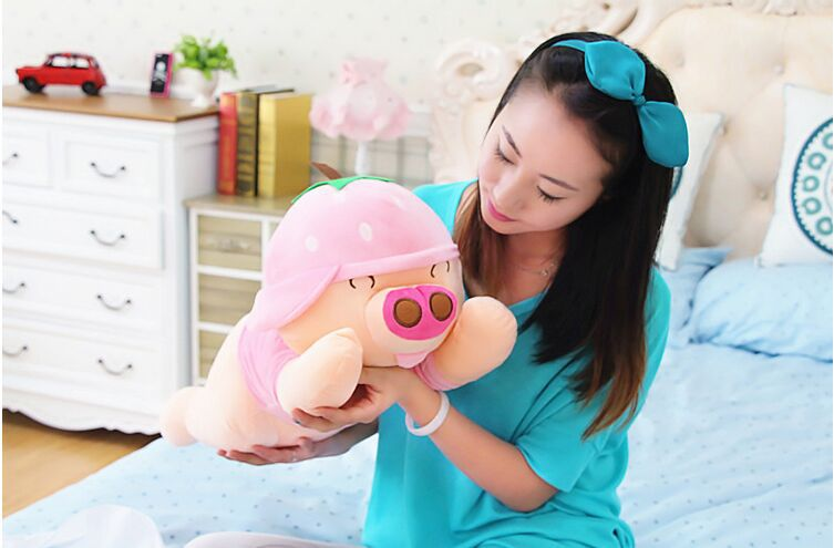 new plush strawberry McDull pig toy cuddly toy stuff lying pink pig doll valentines day gift about 60cm<br><br>Aliexpress
