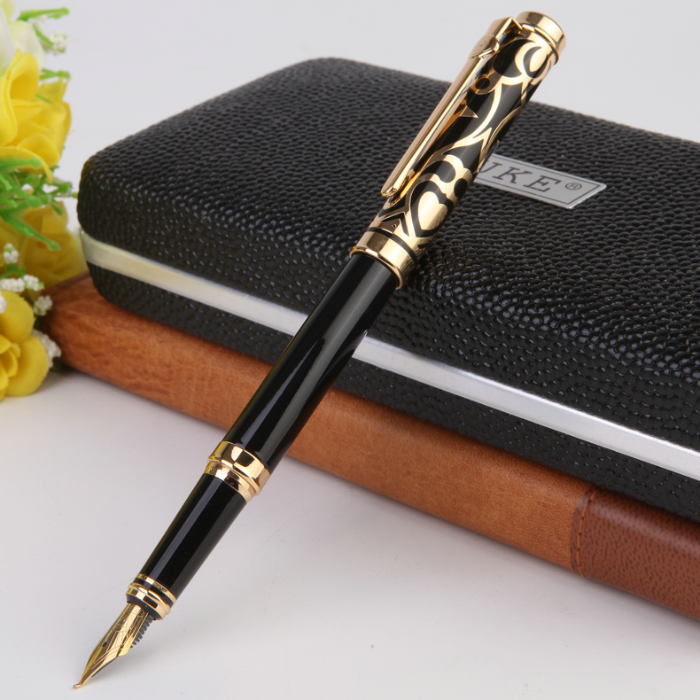 Promotion Stationery Duke Luxury Black and Gold Curved Tip Calligraphy Pen with 0.8mm Nib Metal Ink Gift Pens for Painting<br>