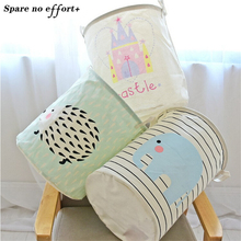 Cotton Linen Fabric Foldable Cartoon Clothes large Castle Laundry Storage Buckets Bags kids Toy Storage Basket free shipping(China)