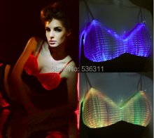 fashion Luminous clothing led Bra shorts for Night Club Led luminous sexy Women tops Led luminous Bras sexy lingerie(China)
