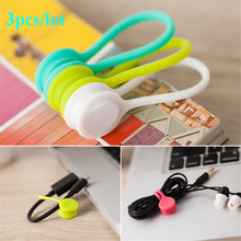 3PCS/lot Magnet coil winder mobile phone headset type headset bobbin winder hubs cord holder Cable Wire Organizer free shipping(China)