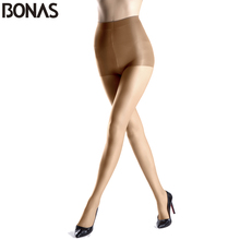 BONAS Spring Style Solid Color Sexy Nylon Stretchy Pantyhose Women's Fashion Cheap Tights Lady Spandex Resistant Black Stocking(China)