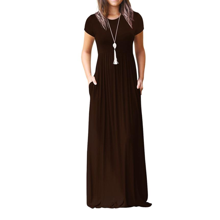 Hot Sale Floor Length Dress Women O Neck Casual Pockets Short Sleeve Loose Party Dress Vestido Longo De Festa 34