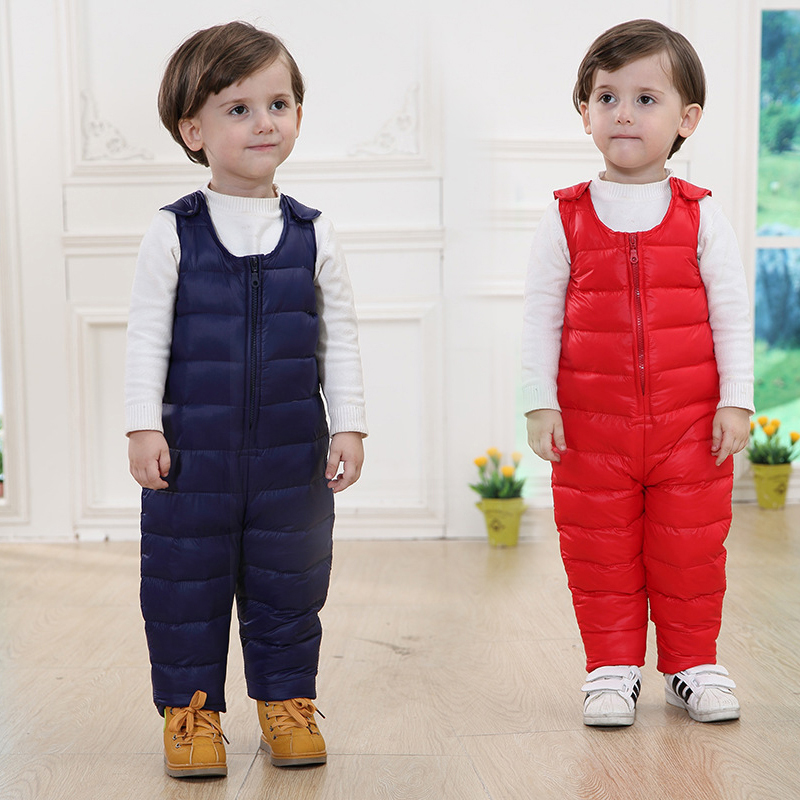 2017 New Fashion Boys Girls Clothing Sets Winter Warmth Children Sets Kids Baby  Girls Clothes Down Strap Piece Pants Clothing<br><br>Aliexpress
