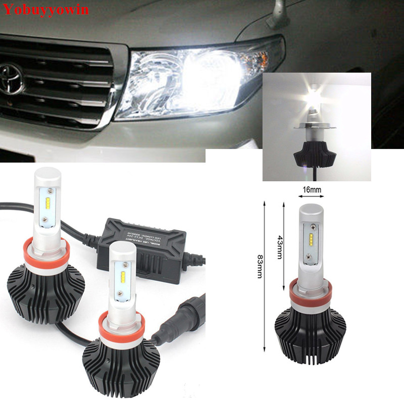 New Pair H11 8000Lm For Philips Lumiled ZES Chip 80W LED Bulbs for Toyota LandCruiser 200 low beam headlights Fog Lights<br>