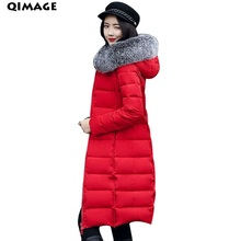 QIMAGE Silm Women Long Parka 2017 Fashion Ladies Winter Coat Big Size Fur Collar Cotton Wadded Jackets Coat Warm Outerwear M-3XL