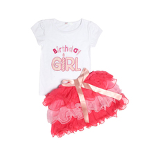 Children's sets 2PC Baby Xmas Outfit Girl Top Tshirt Tutu Skirt Pettiskirt Dress Birthday Party clothing sets