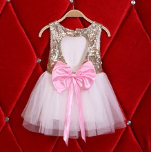 New Children Baby Pink Bow Heart Sequined Party Dresses, Girls Princess Flower Bridemaids Dress 5 pcs/lot, Wholesale(China)