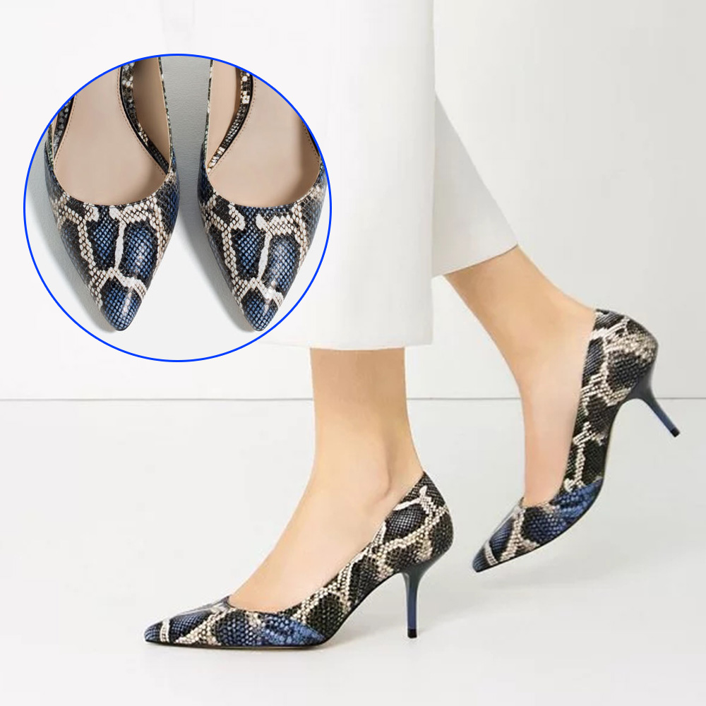 WEIQIAONA New fashion elegent pumps pointed toe sexy shallow party shoes snake pattern single shoes womens high thin heels <br>