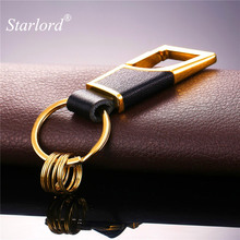 Starlord High Quality Metal Key Chain Leather Keychain Car Key with 3 Detachable Key Rings Key Holder Gift For Men 2017 K2294(China)