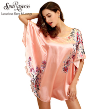 Sleep Lounge Women Lingerie Satin Night Dress Nighty Women Gown Sleepwear robes dressing Gown Plus Gowns Fashion(China)