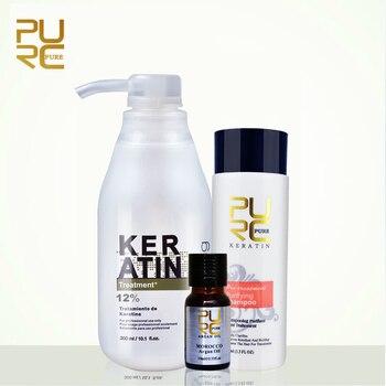 Purc brasileño queratina del cabello tratamiento de alisado 300 ml formalina al 12% aceite de argán champú purificante queratina y 100 ml regalo libre