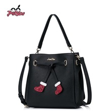 JUST STAR Women PU Leather Handbags Ladies Christmas Socks Tote Purse Girl's Shoulder Bags Female Leisure Messenger Bags JZ4235