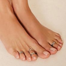 New vintage jewelry metal with antique silver color foot finger ring set gift for women girl 1set=5pieces AN08