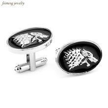 Movie Jewelry Game Of Thrones Symbol House Stark Wolf Head Cufflinks For Mens And Women Shirt Brand Cuff Buttons Cuff Links Gift(China)