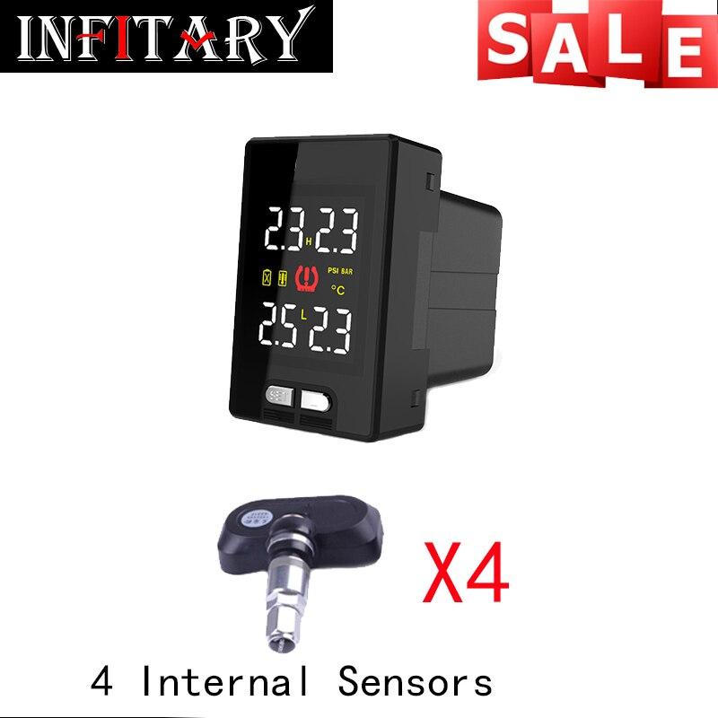 original TPMS button style Wireless tire pressure alarm 4 External/internal sensors monitoring For Toyota Mazda Honda Nissan<br><br>Aliexpress