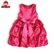 3PCS 2017 NEW kids party girl dress ball gown dress with bow-knot Girls Wedding Dresses purple beige pink rose