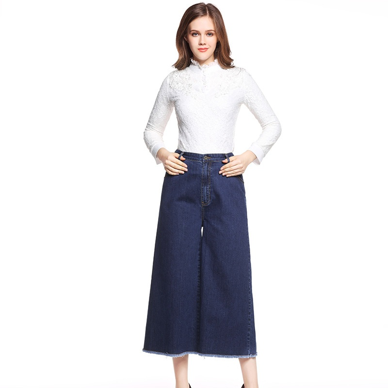 Plus size 5xl women large size wide leg jeans female loose casual womens elastic waist pants fashion ZP1078Îäåæäà è àêñåññóàðû<br><br>