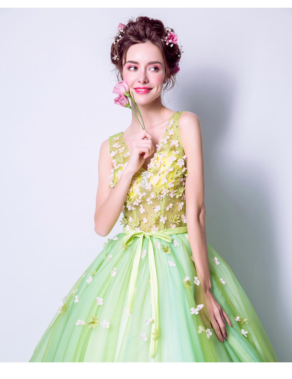 Angel Wedding Dress Marriage Bride Bridal Gown Vestido De Noiva 2017Soft powder, Qingjian Lvxian beauty, petals, green 9718 15