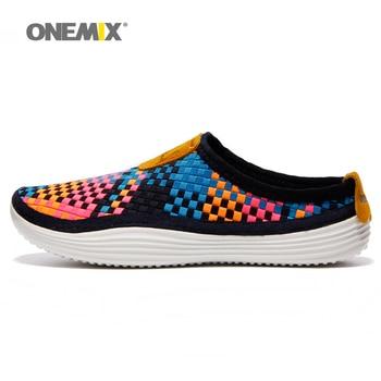 Onemix 2016 zapatillas para hombre transpirable zapatos para caminar al aire libre del color del caramelo de tejer perezoso zapatos de mujer envío gratis 1101