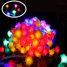 10M led string lights 100 Colorful Rose led flower holiday decoration lamp Festival Christmas lights indoor / outdoor lighting(China)