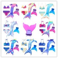 4 piece Bikinis Set Swimmable Children Mermaid Tails Monofin Fin Girls Kids Swimsuit Mermaid Tail Costume Girl Swimming