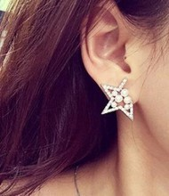 E266 Ladies imitation pearl Rhinestone star earrings cute girl earrings hollow gap pentagram for women