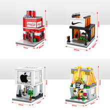 compatible legoinglys street view moc building city block Cola,Nlke,Italy fashion brand,Apple shop bela bricks toys for kid gift