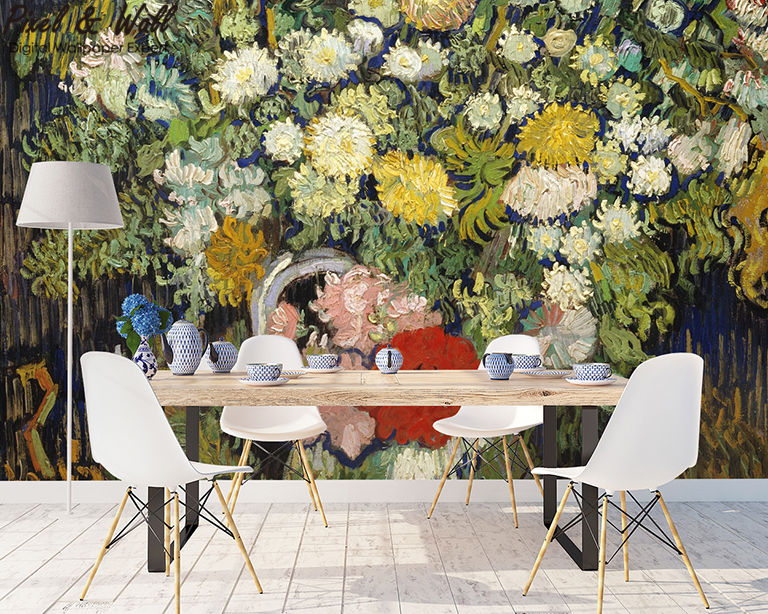 A bouquet of flowers in a van gogh bottle mural photo home accessories decoration living room decoration STDM30593 16