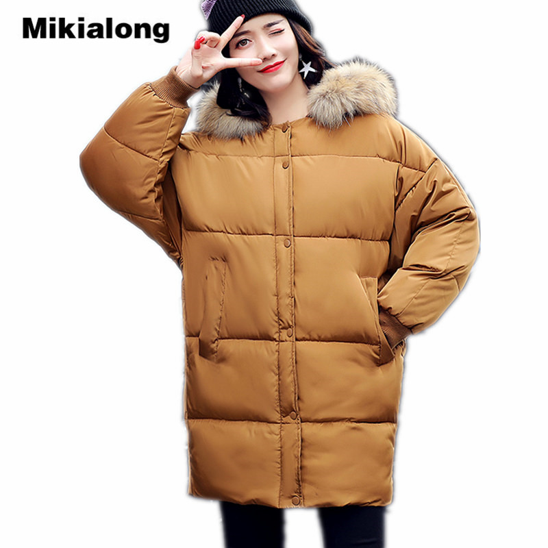 Mikialong Hooded Fur Collar Women Parka 2017 Thick Warm Long Padded Winter Jacket Women Solid Oversized Cotton Quilted CoatÎäåæäà è àêñåññóàðû<br><br>