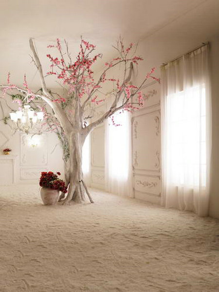 Pink Flower Tree Window Curtains Indoor Backgrounds for sale High-grade Vinyl cloth Computer printed wedding photo backdrop<br><br>Aliexpress