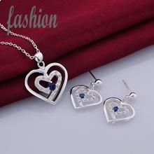 New Design Silver Jewerly Set,Cheap Bridal Party sets Hot Sale SMTS726-C Inlaid Stone Necklace(China)