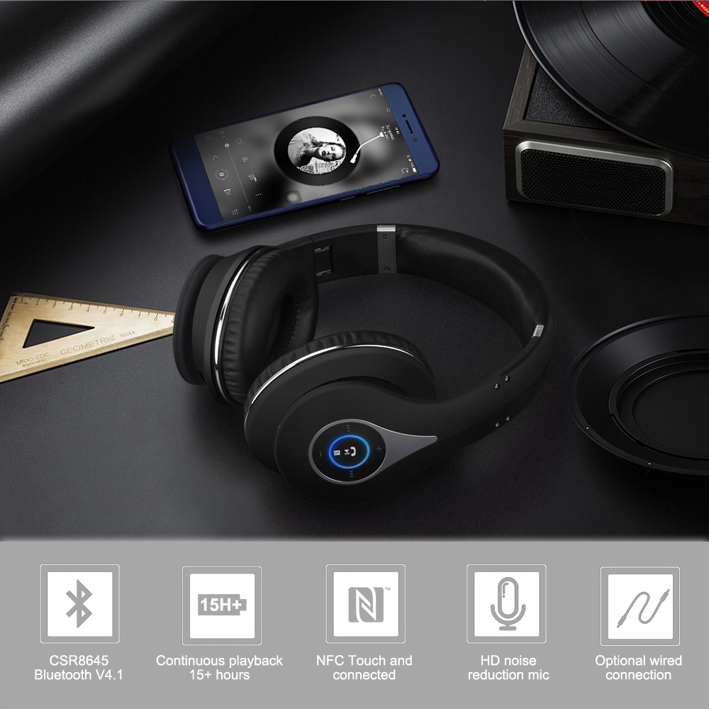 August EP640 Wirelees Stereo Headset with NFC,Black