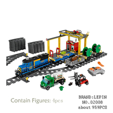Lepin 02008 959PCS City Explorers Cargo Train DIY Building Blocks Bricks educational Toys for children Gifts  60052 brinquedos