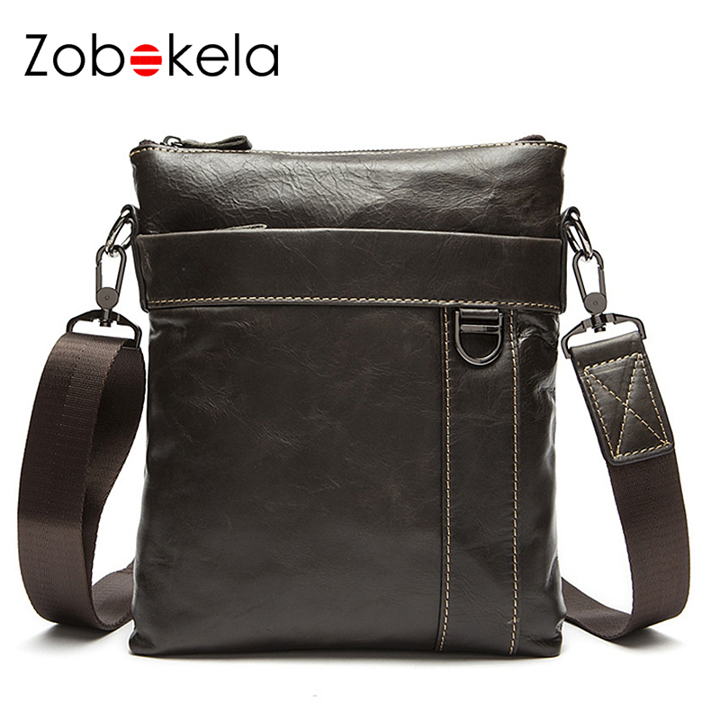 Zobokela Genuine leather bag men messenger bags Hot Sale Male Small briefcases Fashion crossbody business shoulder bag Briefcase<br>