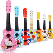 EFHH 21 inch Cartoon Wooden Children Guitar Toys Can Play a beginner Mini Guitar
