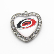 10Pcs Crystal Heart Carolina Hurricanes NHL Team dangle charms Hockey sports hanging charm DIY bracelet/necklace jewelry(China)