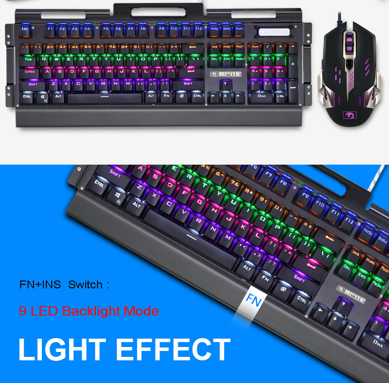 HTB1GllDdRUSMeJjy1zkq6yWmpXau - New Mechanical Keyboard 104 Key Blue Black Switch Rainbow Backlit Gaming Keyboard for PC Game Teclado Gamer+Pro Gaming Mouse