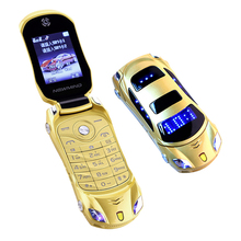 Super Sports Car Flip Phone!English+Russian Keyboard Quad Band Dual Sim flip cellphone car model mini cell mobile phone(China)