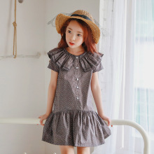 Ruffles Kids Dresses For Girls Clothes Polka Dot Grey Princess Kids Girls Dress Cotton 6 8 10 12 5 Years Vestido summer 2017