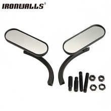 Ironwalls Universal Mini Oval Motorcycle Rearview Mirrors Black Side View Mirror Fit For Harley 8mm 10mm Cruiser Chopper Custom