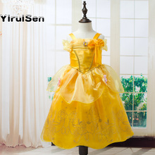 Toddler Girls Summer Belle Dresses Princess Costume Party Clothing Beauty and the Beast Yellow Dress Sleeveless Clothes
