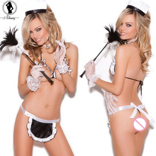 ALINRY New 2017 Sexy lingerie hot women  white halter open bra+G-thongs+cute apron 3 point france cosplay Erotic underwear sex