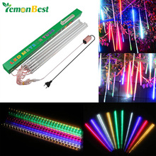 50cm 10pcs Waterproof RGBW LED Meteor Shower Rain Light Tube Snowfall Christmas New Year Holiday Decor Lights For Garden Square