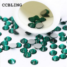 CCBLING ss3 -ss30 Flat Back Emerald 3d Nail Art crystal decorations ) Non Hot Fix Glue on rhinestones for nails stone bead(China)