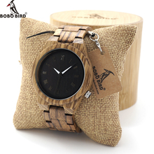 BOBO BIRD Mens Watch Zebra Wood Quartz Watch with Luminous Hands Full Wood Band in Gift Box custom logo saat erkek relojes(China)