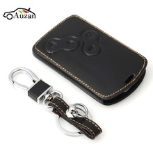 Leather Key Case Cover Holder with Keychain For Renault Koleos Laguna 2 3 Megane 1 2 3 Sandero Scenic Captur Clio Duster Fluence(China)