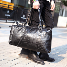 High Capacity Men Fashion Vintage Crocodile Pattern PU Leather Handbag Shoulder Bag Handbags Travel Bag Tote Luggage Duffle Bags