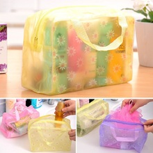 Portbal FloralTransparent Floral Cosmetic Storage Waterproof Travelling Bath Bag For Towel Soap Washing Bath Products Organizer