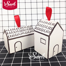5pcs/lot Simply Drawing Chinese House Cake Box Chocolate Muffin Biscuits Box for Cookie Package Gifts DGH458